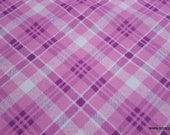 Flannel Fabric - Pink Bias Plaid - By the Yard - 100% Cotton Flannel