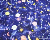 Flannel Fabric - Young Constellations - By the yard - 100% Cotton Flannel