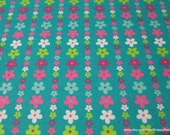 Flannel Fabric - Foxy Daisy - By the yard - 100% Cotton Flannel