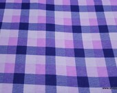 Flannel Fabric - Purple Navy Tri Buff Check - By the yard - 100% Cotton Flannel