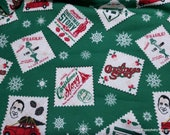 Christmas Character Flannel Fabric - A Christmas Story Stamp - By the yard - 100% Cotton Flannel