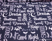 Flannel Fabric - Sleeping Pink Words on Black - By the Yard - 100% Cotton Flannel