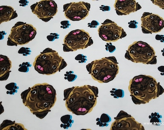 Flannel Fabric - Pug Faces Tossed - By the yard - 100% Cotton Flannel