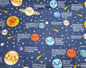 Flannel Fabric - Space Facts - By the Yard - 100% Cotton Flannel