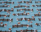 Flannel Fabric - Harmony Farm Sheep Dream Blue - By the yard - 100% Cotton Flannel