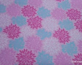 Flannel Fabric - Pink Mint Burst - By the yard - 100% Cotton Flannel
