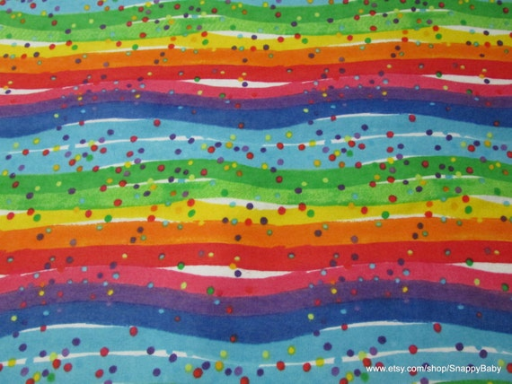 Flannel Fabric - Rainbow and Dots - By the yard - 100% Cotton Flannel