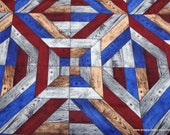 Flannel Fabric - Patriotic Wood Geo - By the yard - 100% Cotton Flannel