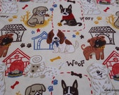 Flannel Fabric - Quirky Puppies Tan - By the yard - 100% Cotton Flannel