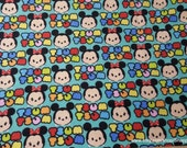 Character Flannel Fabric - Tsum Tsum Mickey Minnie Stripe - By the yard - 100% Cotton Flannel