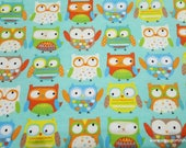 Flannel Fabric - Adorable Owls - By the yard - 100% Cotton Flannel