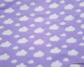 Flannel Fabric - Dreamy Clouds Lavender Lily - By the yard - 100% Cotton Flannel
