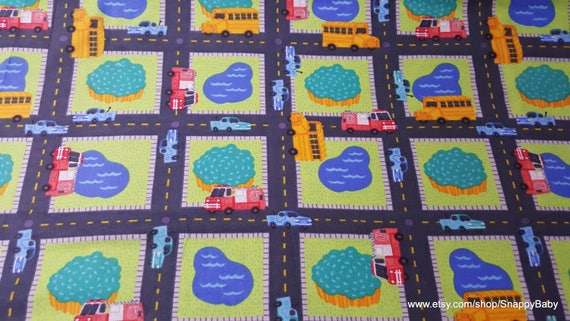 Flannel Fabric - Roadway - By the yard - 100% Cotton Flannel