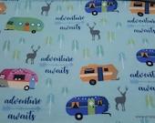 Flannel Fabric - RV on Aqua - By the yard - 100% Cotton Flannel