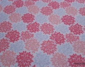 Flannel Fabric - Coral Gray Burst - By the yard - 100% Cotton Flannel