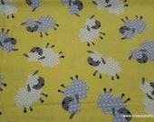Flannel Fabric - Sheepies on Yellow - By the yard - 100% Cotton Flannel