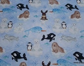 Flannel Fabric - Arctic Friends - By the yard - 100% Cotton Flannel