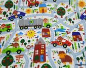 Flannel Fabric - Happy City on White - By the Yard - 100% Cotton Flannel