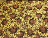 Flannel Fabric - Sunflowers and Bees - By the yard - 100% Cotton Flannel