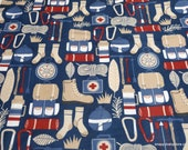 Flannel Fabric - Summer Living Camping - By the yard - 100% Cotton Flannel
