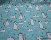 Flannel Fabric - Kittycorn - By the yard - 100% Cotton Flannel
