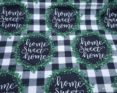 Flannel Fabric - Home Sweet Home - By the yard - 100% Cotton Flannel
