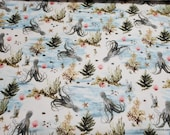 Flannel Fabric - Octopus - By the yard - 100% Cotton Flannel