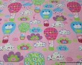 Flannel Fabric - Air Balloon Friends Pink - By the Yard - 100% Cotton Flannel