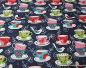 Flannel Fabric - Tea Cups - By the yard - 100% Cotton Flannel