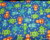 Flannel Fabric - Happy Robots on Blue - By the yard - 100% Cotton Flannel