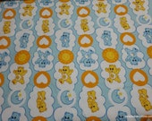 Character Flannel Fabric - Care Bears Funshine and Bedtime Bears on Blue - By the yard - 100% Cotton Flannel