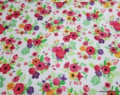 Flannel Fabric - Summer Floral - By the yard - 100% Cotton Flannel