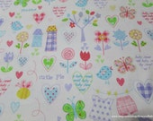 Flannel Fabric - Cutie Pie  - By the yard - 100% Cotton Flannel