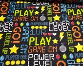 Flannel Fabric - Level Up Power Level on Black - By the yard - 100% Cotton Flannel