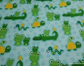 Flannel Fabric - Frogs Turtles Alligators Aqua - By the Yard - 100% Cotton Flannel