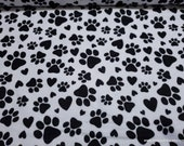 Flannel Fabric - Paws and Hearts on White - By the yard - 100% Cotton Flannel