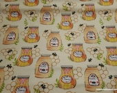 Flannel Fabric - Honey Jars - By the yard - 100% Cotton Flannel