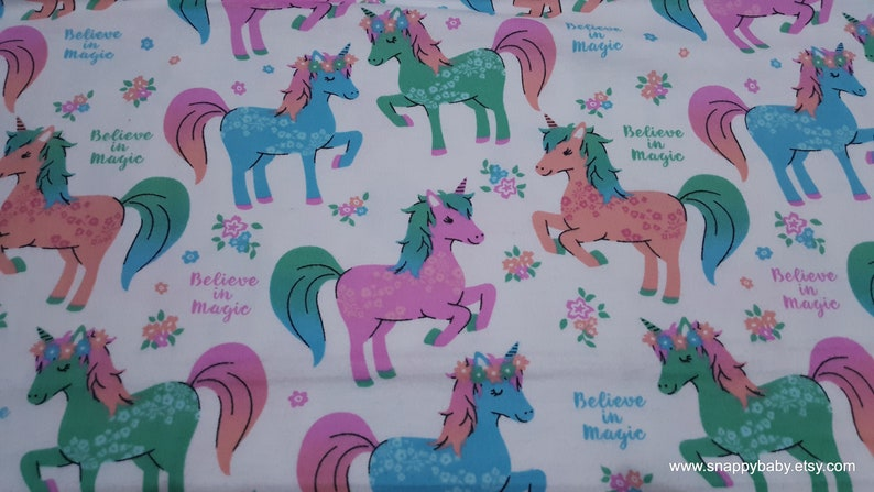 By the yard Puppycorns and Rainbows Flannel Fabric 100/% Cotton Flannel