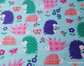 Flannel Fabric - Happy Hedgehogs - By the yard - 100% Cotton Flannel