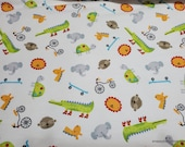 Flannel Fabric - Animals in Cars Faces - By the yard - 100% Cotton Flannel