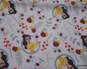 Character Flannel Fabric - Disney Belle with Roses Toss - By the yard - 100% Cotton Flannel