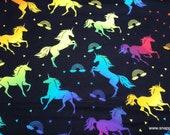 Flannel Fabric - Rainbow Unicorn on Black - By the yard - 100% Cotton Flannel