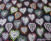 Flannel Fabric - Kaleidoscope Hearts Bright on Black - By the yard - 100% Cotton Flannel