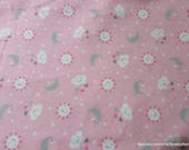 Flannel Fabric - Sun Cloud Stars Moon Pink - By the yard - 100% Cotton Flannel