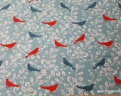 Flannel Fabric - Birds on Floral Vines - By the yard - 100% Cotton Flannel