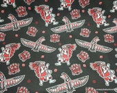 Flannel Fabric - Southwest Eagles Black Red - By the yard - 100% Cotton Flannel