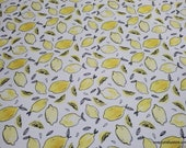 Flannel Fabric - Lemon Sketch - By the yard - 100% Cotton Flannel