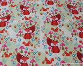 Flannel Fabric - Acorn Valley Foxes Main Cream - By the yard - 100% Cotton Flannel