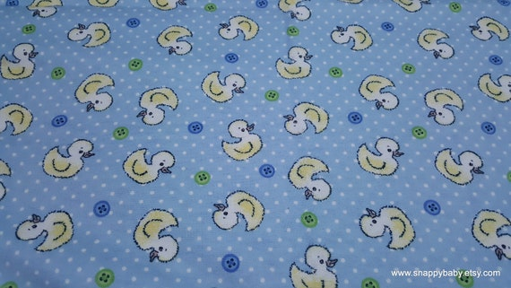 Flannel Fabric - Duckie Blue - By the yard - 100% Cotton Flannel