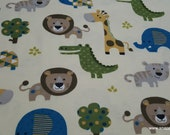 Flannel Fabric - Safari Zoo Animals - By the yard - 100% Cotton Flannel